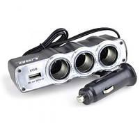Разветвитель автомобильный тройник WF-0120 с USB, фото 5