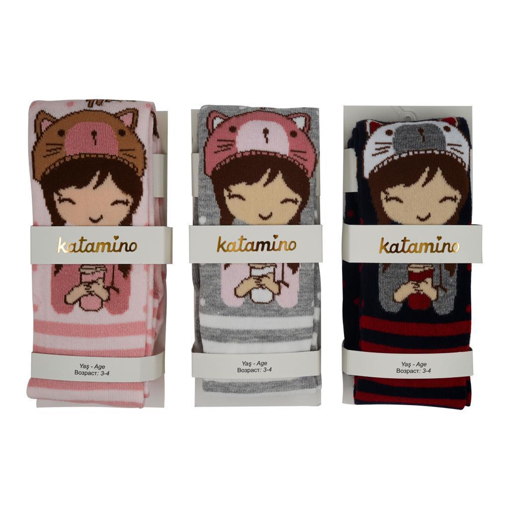 Колготы детские демисезонные, х/б, с рисунком, для девочки, Katamino