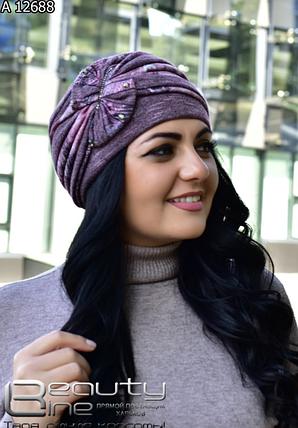 Женская шапка сиреневая, фото 2