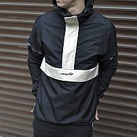 Анорак мужской Adidas (Адидас) | Куртка осенняя весенняя демисезонная черная | Ветровка мужская Пума