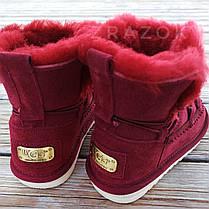 Натуральна замша натуральне хутро уггі дитячі бордо червоні, бордові черевики уггі дитячі для дівчинки, фото 3