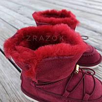 Натуральна замша натуральне хутро уггі дитячі бордо червоні, бордові черевики уггі дитячі для дівчинки, фото 2