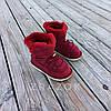 Натуральна замша натуральне хутро уггі дитячі бордо червоні, бордові черевики уггі дитячі для дівчинки, фото 6