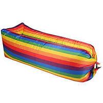 Надувной матрас Ламзак AIR sofa Rainbow Радуга, надувной диван-шезлонг, ламзак-лежак, фото 2