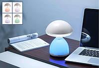 Настольная светодиодная лампа 621-1 со встроенным аккумулятором 7 цветов подсветки зарядка от USB, фото 6