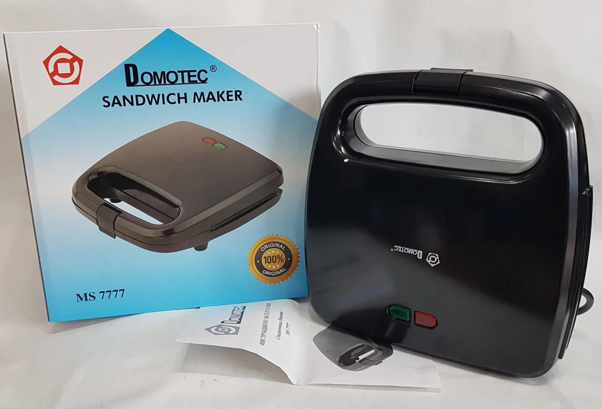Электрическая сендвичница Domotec MS-7777, бутербродница с антипригарным покрытием 750 ВТ
