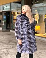 Розкішна шуба пальто з хутра чорнобурки в розпуск 100 см