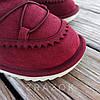 Натуральная замша натуральный мех угги детские бордо красные бордовые ботинки уггі дитячі  для девочки, фото 3