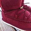 Натуральная замша натуральный мех угги детские бордо красные бордовые ботинки уггі дитячі  для девочки, фото 4