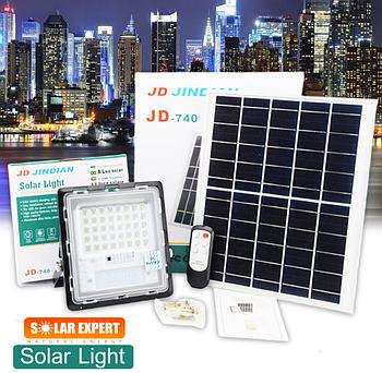 Прожектор Jindian JD-740 40W, IP67, солнечная батарея, пульт ДУ, встроенный аккумулятор, таймер
