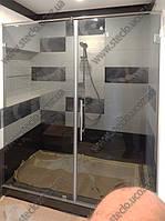 Стеклянные душевые перегородки из тонированного стекла , фото 1