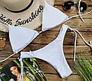 Белый женский купальник бразилиана на завязках, фото 2