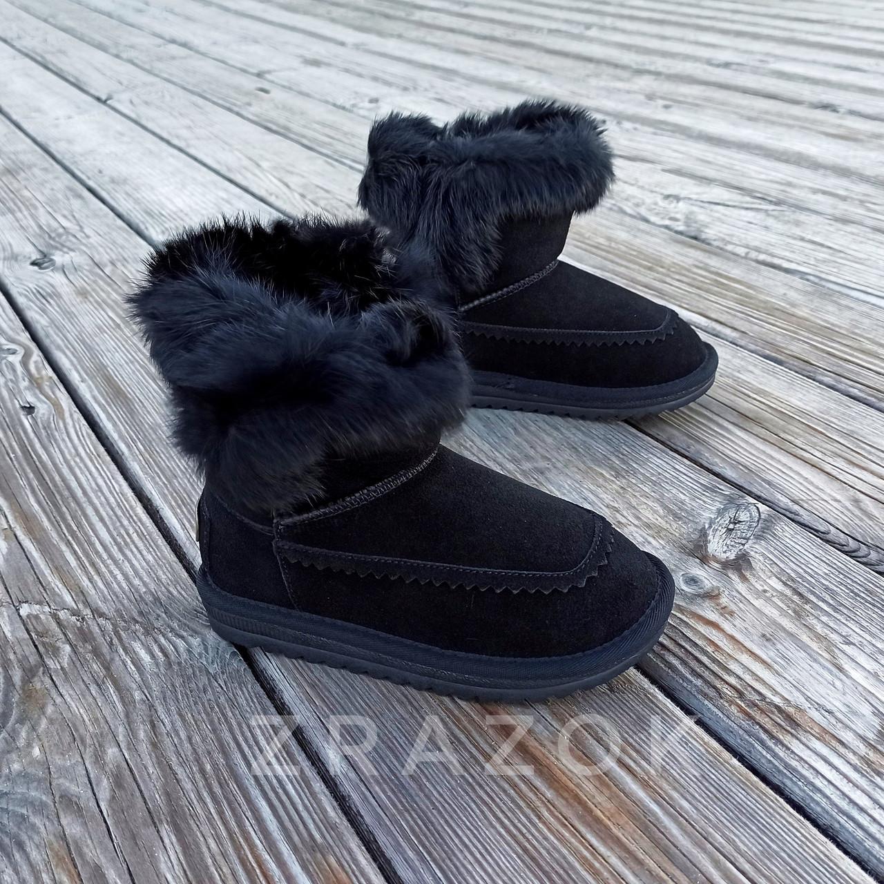 Натуральная замша угги детские черные ботинки сапожки уггі дитячі для мальчика для девочки