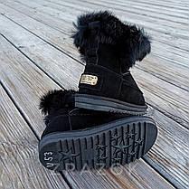 Натуральная замша угги детские черные ботинки сапожки уггі дитячі для мальчика для девочки, фото 3