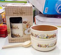 Набор детских тарелок с ложечками Bobby Rabbit 12,4х5,7см, фото 3