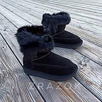 Натуральная замша угги детские черные ботинки сапожки уггі дитячі для мальчика для девочки, фото 2