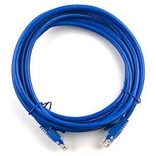 Патч-корд литой RITAR, UTP, RJ45, Cat.6, 5m, синий, Cu (медь)