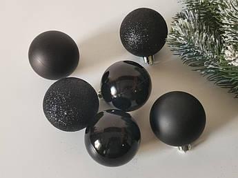 Набор новогодних елочных шаров 6 см, черный. 6 шт