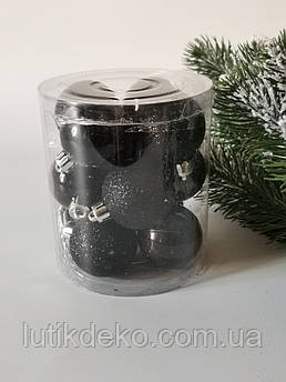 Набор новогодних елочных шаров 4см, черный. 12 шт