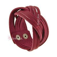 Жіночий шкіряний браслет косичка бордовий, фото 1