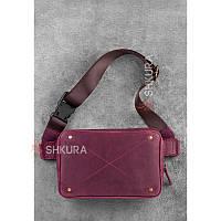 Кожаная женская поясная сумка Dropbag Mini Krast бордовая, фото 1