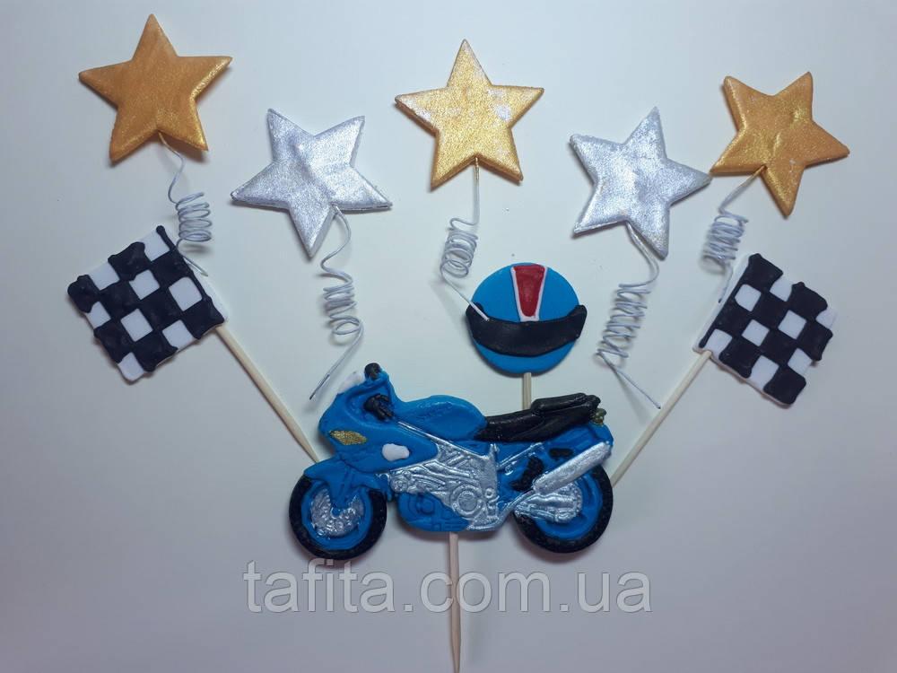 Набор топперов Мотоцикл синий