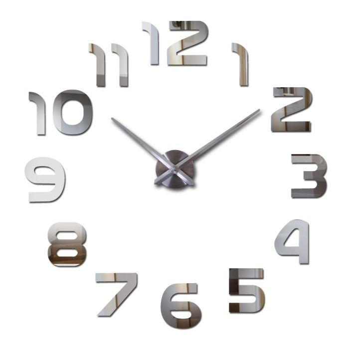 Большие настенные 3Д часы Арабские цифры арт.002.Бескаркасные часы 3D