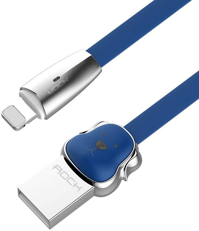 Кабель Rock Dog USB - Lightning Charge & Sync flat cable 1.2 м Blue (69469)