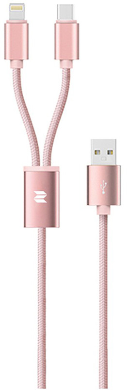 Кабель Rock 2 in 1 charging cable w/version D/USBA TO USB - Lightning/MicroUSB 1.2 м Rose Gold (69372)