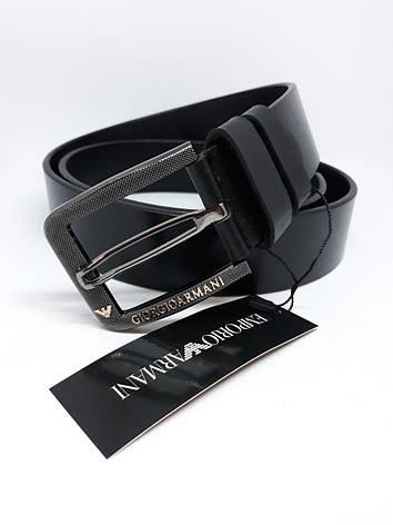 Мужской кожаный ремень черный пояс, фото 2