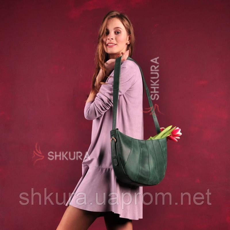 Кожаная женская сумка Круассан зеленая