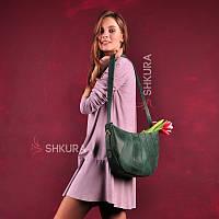Шкіряна жіноча сумка Круасан зелена, фото 1