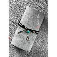 Женский кожаный браслет черный Джиа, фото 1