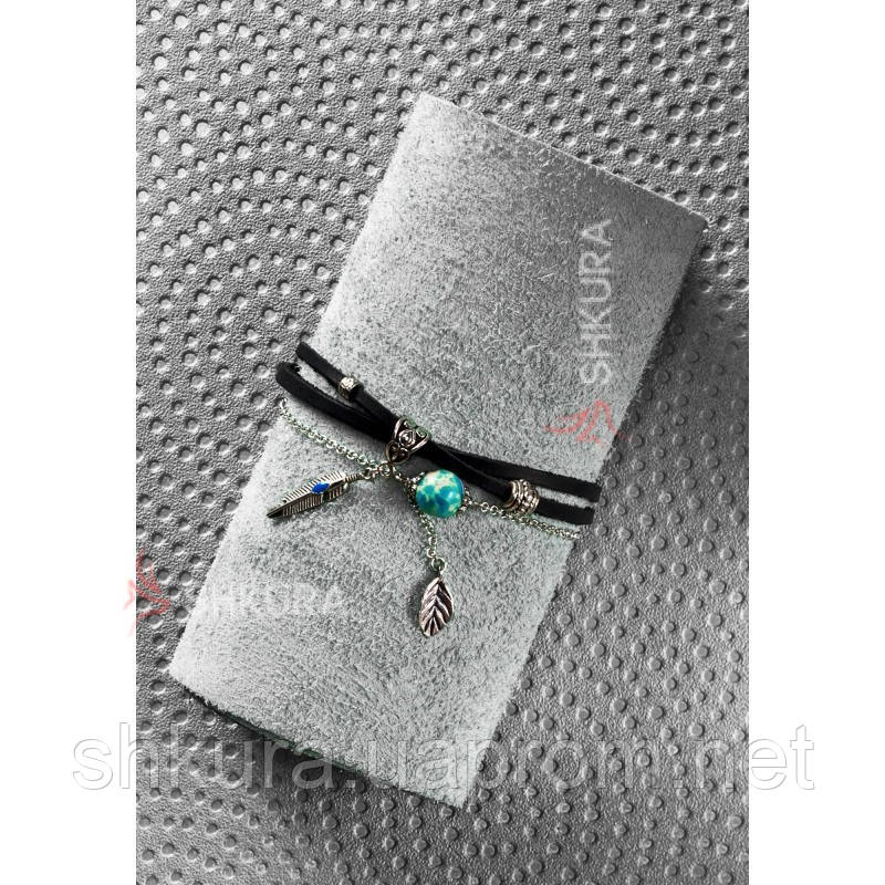Женский кожаный браслет черный Джиа