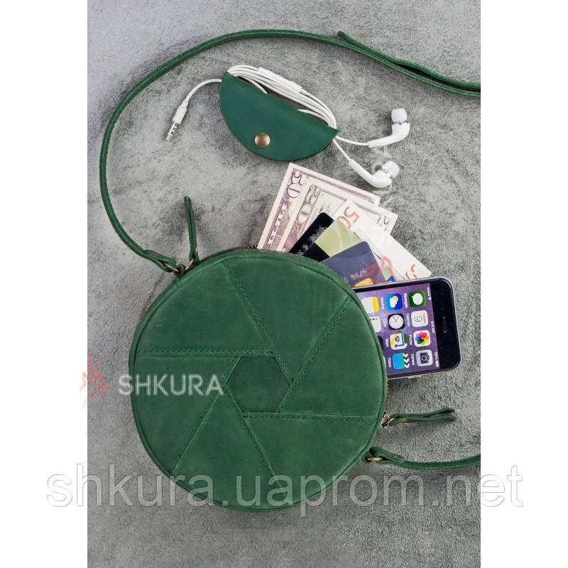 Кругла шкіряна жіноча сумка Бон-Бон зелена