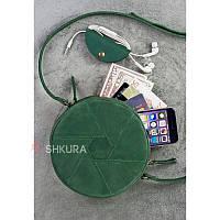 Кругла шкіряна жіноча сумка Бон-Бон зелена, фото 1