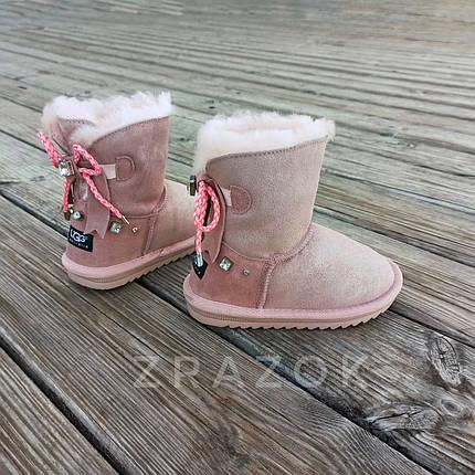 Натуральна замша уггі UGG рожеві з бантиком на дівчинку черевички чобітки уггі дитячі замшеві, фото 2