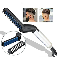 Быстрая щетка для выпрямления бороды и волос, мужской утюжок-выпрямитель, стайлер, фото 5