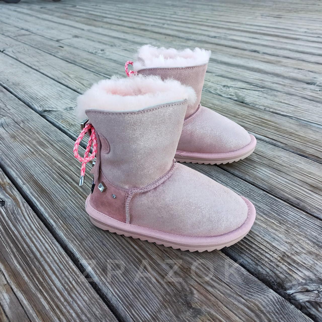 Натуральна замша уггі UGG рожеві з бантиком на дівчинку черевички чобітки уггі дитячі замшеві
