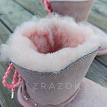 Натуральная замша угги UGG розовые с бантиком на девочку ботиночки сапожки уггі дитячі замшеві, фото 3