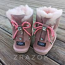 Натуральная замша угги UGG розовые с бантиком на девочку ботиночки сапожки уггі дитячі замшеві, фото 2