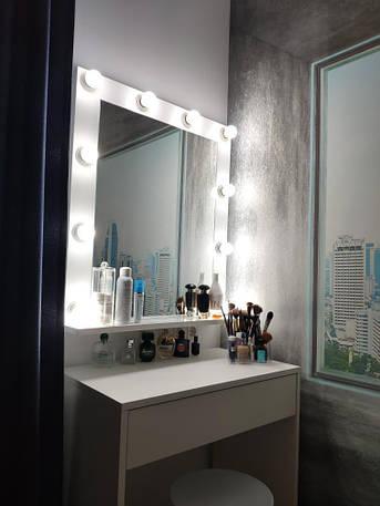 Зеркало в салон красоты, в белом цвете с лампочками, фото 2