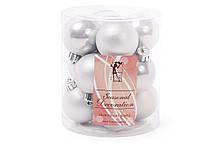 Набор елочых шаров 4см, цвет - серебро, 12шт: матовый, перламутр - по 6шт BonaDi 147-173
