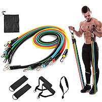 Набор эспандеров для фитнеса многофункциональный 5 жгутов Power Resistance Bands в чехле JT-003 W74, фото 9