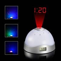 Часы ночник проектор звездного неба с проекционными часами М-333