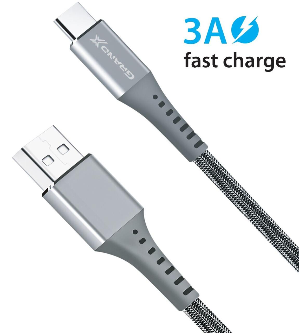 Кабель Grand-X USB-USB Type-C, 3A, 1.2м, Fast Сharge, Grey (FC-12G)