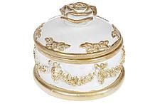 Шкатулка для украшений Роза, 14см, цвет - белый с золотом BonaDi 440-827