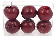Набор подвесных декоративных Яблок, 6см, 6шт, цвет - темно-красный BonaDi 130-400