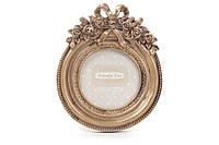 Рамка для фото настольная круглая 13.5см из искусственного камня Барокко, золото антик BonaDi 493-718