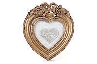 Рамка для фото настольная Сердце 13см из искусственного камня Барокко, золото антик BonaDi 493-719